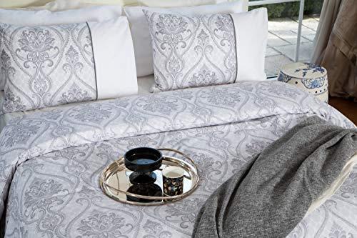 Marsala Home - Juego de funda de edredón 100 % algodón, color gris, blanco, estampado, suave, natural, transpirable, duradero, algodón, Agora, king size