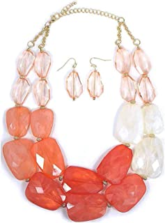 Secret for Longevity Pink Peach Coral Melon Salmon Colored Resin Big Chunky Statement Necklace Earrings Set