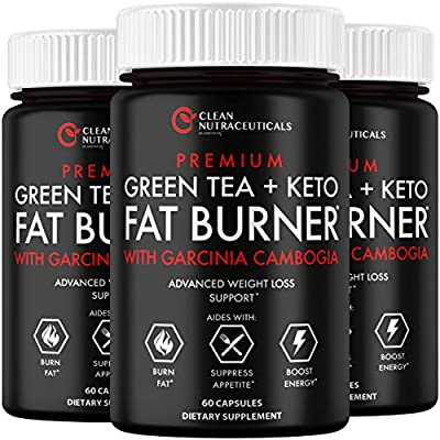 Green Tea Extract Supplement Keto Pills EGCG - Belly Fat Pills That Work - 1200mg Capsules - Slim Stomach & Abdominal - Natural & Keto Diet Friendly Supplement for Men & Women - 180 Veggie Capsules