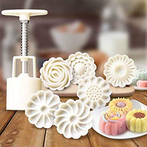 GDGY 6+1 Chinese Flowers Pattern Mooncake Mold Candy Pineapple Cake Cookie DIY Baking mold/3D Rose Flower Mooncake Mold Hand Pressure Mould 1 Barrel 6 Stamps DIY Cake Decoration Tool