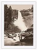 Fotografía histórica de Carleton E. Watkins c.1865 de Nevada Fall, Valle de Yosemite, California, blanco y negro, impresión 100% seda pura Dupioni