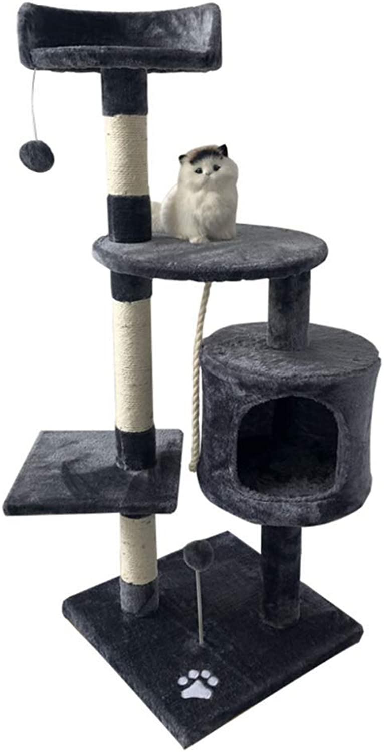 Mingc Cat Tree House  Large Level Sisal Activity Centre Cat Tower Furniture And Dangling Ball  For Kittens, Cats And Pets,B