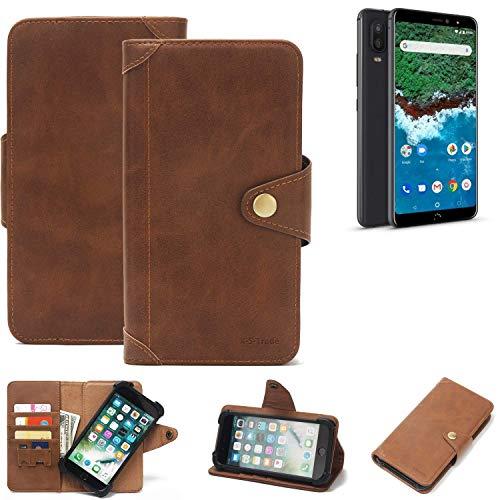 K-S-Trade® Handy-Hülle Für BQ Aquaris X2 Pro Schutz-Hülle Walletcase Bookstyle Tasche Handyhülle Schutz Hülle Handytasche Wallet Flipcase Cover PU Braun (1x)