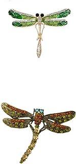 2 Pezzi Pin Spilla Gioielli Moda In Disegno Libellula Con Strass Cristallo Regalo Per Anniversario Compleanno