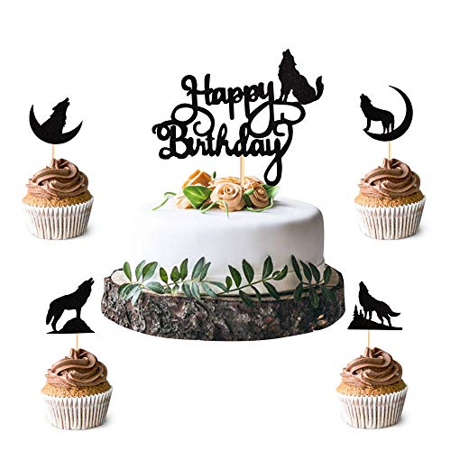 Unimall Pack of 25 Black Wolf Silhouette Glitter Cupcake Topper Wolf Cake Topper Animal Theme Birthday Wedding Party Decoration