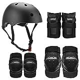 Lixada Casco Infantil Multi Deportes 7 en 1 Kit de Equipo de Protección de Seguridad Rodilleras Muñequeras para Patinaje Patinaje Ciclismo (Negro, M)