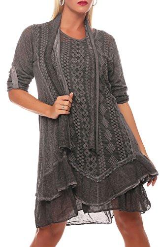 Malito Damen Strickkleid mit Schal | Maxikleid mit Spitze | schickes Freizeitkleid | Pullover - Kostüm 6283 (dunkelgrau)