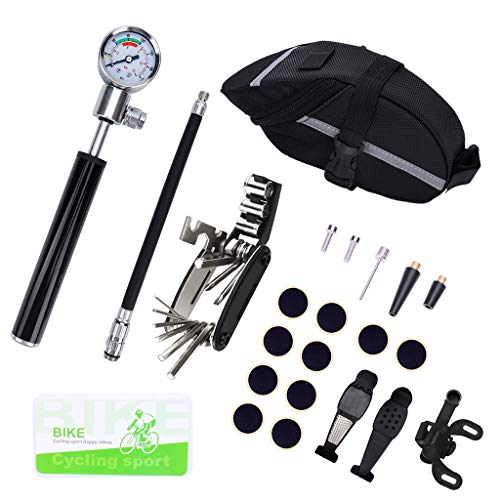 SIQIMI 1 Set Fahrrad Reparatur und Demontage Werkzeug Set Fahrrad Reifen Reparatur Kits Fahrrad Reparatur Gaszylinder Manometer mit Satteltasche