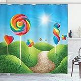 ABAKUHAUS Fantasie Duschvorhang, Candy Land Lollipops, mit 12 Ringe Set Wasserdicht Stielvoll Modern Farbfest & Schimmel Resistent, 175x180 cm, Grün Blau Rot