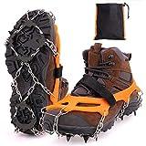 MIZOMOR Crampones Nieve Crampones Ligeros Crampones Nieve Hielo Racos de Hielo Tracción Antideslizante Más de Zapatos con 8 DientesdeAceroInoxidable para Montañismo Senderismo Cámping TPE Naranja