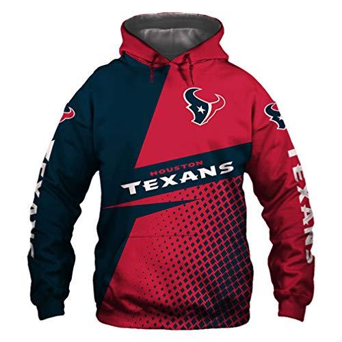 Hanbei Jersey Texans Sudaderas con Capucha De La Camiseta Unisex De La Impresión 3D De Fútbol Americano Sudadera con Capucha