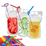 100 Pcs Drink Pouches with 100 Straws, YouCoulee Freezable Juice Pouches Zipper Drink Bags for Adults and Kids, Heavy Duty Hand-Held Translucent Reclosable Heat-Proof Bag 2.5 Bottom Gusset