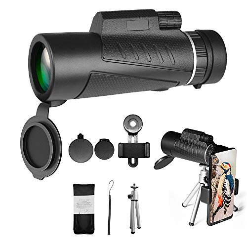 Monocular Telescope, TIGERSHOW 12X50 High Power HD Monocular with Smartphone Holder & Tripod for Hiking, Fishing, Hunting, Bird Watching, Travelling and Other Outdoor Activities