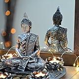 INtrenDU Buddha Dekoteller Silber mit Teelichthaltern und Deko-Steinen - 2