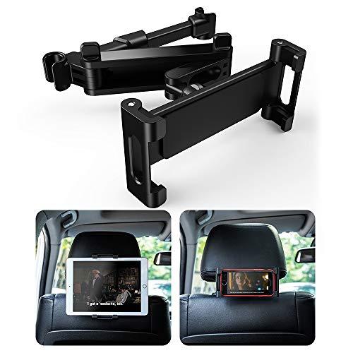 UIHOL Soporte Tablet Coche, Auto Reposacabezas Soporte para Tablet 360° Rotación Fácil instalación Ajustable Diferentes Tamaños Universal para 6-12' Pulgadas iPad Pro Air Mini Tab, Smartphone