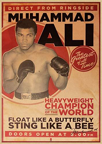 h-p Campeón De Boxeo Muhammad Ali Clásico Retro Lienzo Arte Pintura Al...