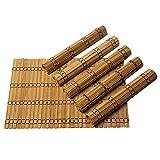 Byoeko Lot de 6 sets de table rectangulaires en bambou 45 x 30 cm