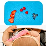 Handfullz Silicone Placemats Baby Food Table/High Chair Mat for Baby Feeding - Raised Wave Design for Easy Food Pickup and Motor Skills - Dishwasher Safe and BPA-Free - Single Blue