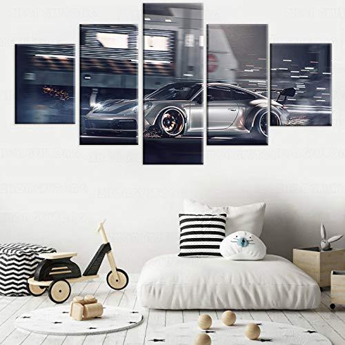 HKDGHTHJ Mural de pintura decorativa para oficina Gris super coche deportivo pista 150x80cm Cuadro de lienzo, marco de arte de pared para sala de estar, decoración nórdica, póster de imagen modular d