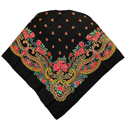 Portuguese Folklore Regional Head Scarf Shawl (Black Pink)