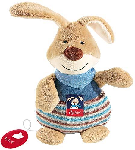 sigikid, 47894 garçon, peluche musicale lapin, beige/bleu 'Semmel Bunny'