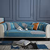 GZGLZDQ Funda De Asiento De Chenilla para Sofá Funda De Cojín De Sofá De Felpa Antideslizante 1/2/3/4 Asiento para Sala De Estar Stretch Slipcover Couch Cover (Color : Light Blue, Tamaño : 90x160cm)