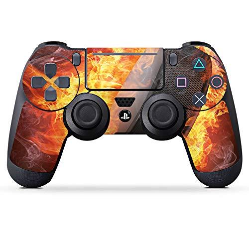 DeinDesign Skin kompatibel mit Sony Playstation 4 Slim PS4 Controller Aufkleber Folie Sticker Eishockey Flammen Slapshot