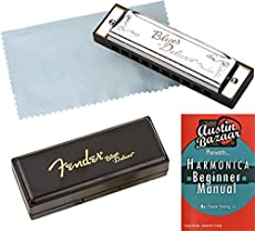 Fender Blues Deluxe Harmonica - Key of C Bundle with Carrying Case and Instructional Book