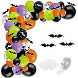 SKYIOL Guirnalda de globos para Halloween, color negro, naranja, verde y lila, 100 unidades, globos de helio con arco de 5 m, adhesivo de puntos, murciélago para niños, decoración de cumpleaños
