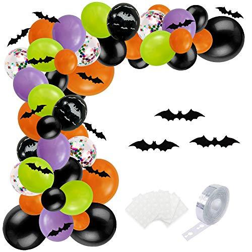 SKYIOL Ballon Girlande Set Halloween Schwarz Orange Grün Lila 100 Stück Helium Luftballons mit 5m Ballonbogen Punktkleber Fledermaus für Kinder Geburtstag Party Dekoration