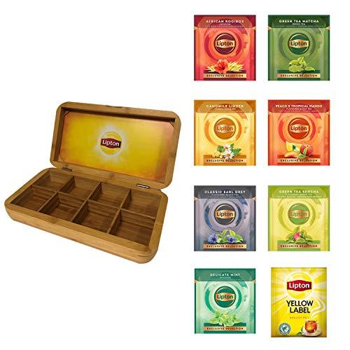 Lipton Tee Exclusive Selection mit hochwertiger 8-Kammer Bambus Holzbox, 8 Tee-Sorten zu je 25 Beutel, 200 Teebeutel aromaversiegelt, Büffet geeignet, perfekt als Geschenk-Idee