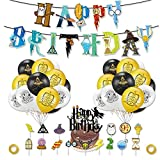 Comius Sharp 49 piezas Magical Wizard Birthday Party Supplies Set, Happy Birthday Banner, Balloons, Stickers, Cake Topper, Cupcake Toppers Decoraciones para fiestas