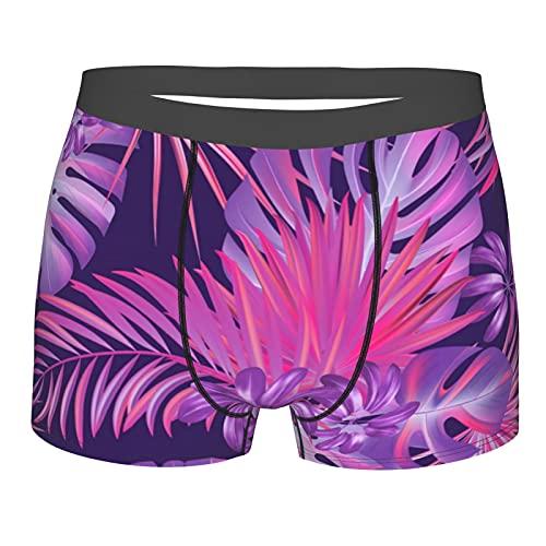 Men's Boxer Briefs Underwear Exotic tropical hawaiian purple background Stretch short leg sports briefs