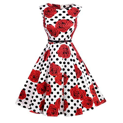 Lylafairy 50er Jahre Vintage Kleid, Damen A-Linie Party Abendkleid Rockabilly Knielang Festliches Kleid (40, 04Polka Dots Blumen)