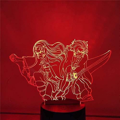 Lamp Anime Demon Slayer KAMADO TANJIROU NEZUKO Figura LED Luz de Noche Acrílico para la habitación de la habitación Decoración Fresca Niño Niño Regalo 16 Color