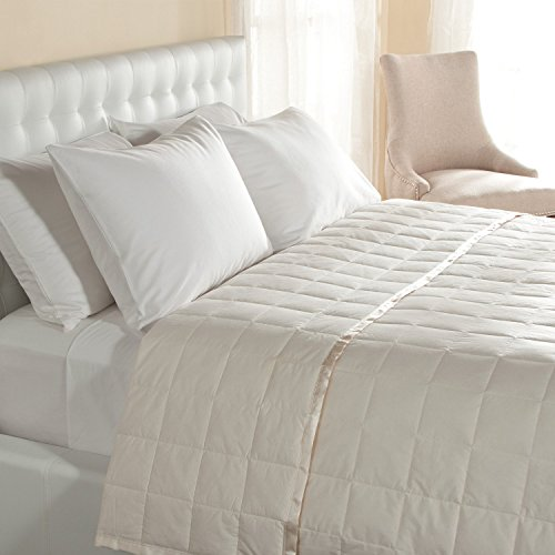 Hypoallergenic 230 TC Light Weight Oversized Queen Down Blanket with Satin Trim - Light Weight - Perfect for Summer - Available in White and Ivory - 94' x 104' - Ivory