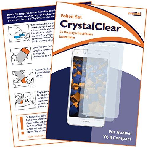 mumbi Schutzfolie kompatibel mit Huawei Y6 II compact Folie klar, Displayschutzfolie (2X) - 2