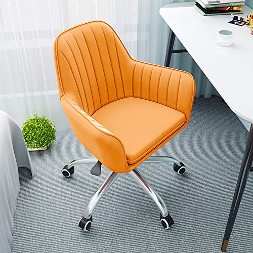 XM&LZ Modern Design Velvet Desk Chair,Ergonomic Office Chair Adjustable Computer Chair for Bedroom,Latex Cushion Mid-Back Task Chair-Orange 52x46x44cm(20.5x18x17.3in)