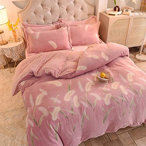 Shinon teddy fleece bedding superking,Winter flannel single double duvet cover sheet pillowcase bedding four-piece set-L_1.2 beds (3 pieces)