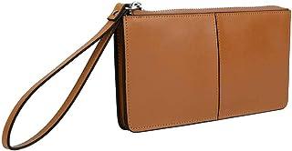 YALUXE Women's Leather Zipper Clutch Wristlet Wallet for iPhone 7 Plus/Galaxy S5 Brown Tan