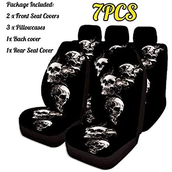 YKBAOBAO 7PCS Car Seat Cover 3D Skull Printing Universal Car Front Seat Protector Seat Car Accessories Cushion Full Cover for Most Car BuildingUS  Color Name   7pcs