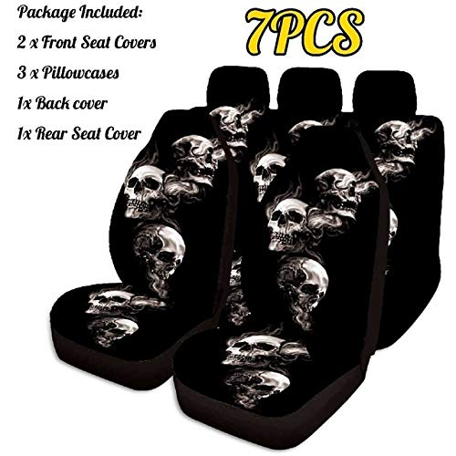YKBAOBAO 7PCS Car Seat Cover 3D Skull Printing Universal Car Front Seat Protector Seat Car Accessories Cushion Full Cover for Most Car BuildingUS (Color Name : 7pcs)