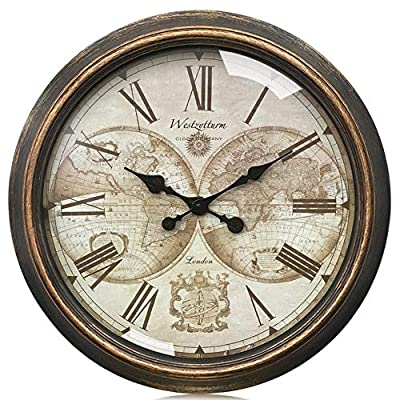 Westzytturm Large Wall Clock Decorative, 30 inch Gold Vintage Style Rustic Farmhouse Roman Numeral, Battery Operated Non Ticking Silent, for Living Room Mantel