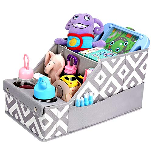 Collapsible Front & Backseat Car Organizer with Movable Dividers | Multifunction Seat Back Organization for Kids | Easy to Move and Clean & Large Capacity Kids Car Seat Organizer (Gray)