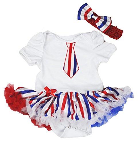 Petitebelle Bleu Blanc Rouge rayé Cravate Blanc Body Jumpsuit Barboteuse bébé Robe Nb-18 m - Blanc - XL