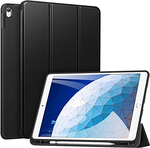 ZtotopCase Case for iPad Air 10.5 2019 (3rd Generation) and iPad Pro 10.5 2017, Ultra Thin Soft TPU Back Cover with Built-in iPad Pen Holder, with Auto Sleep/Wake Function, Black