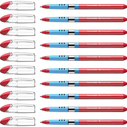 Schneider Slider Basic XB Ballpoint Pen, Box of 10, Red (151202)