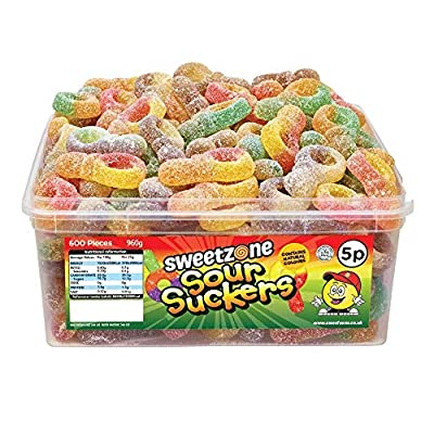 sweetzone 100% halal jelly sweets - sour suckers tub of 120pcs SweetZone 100% Halal Jelly Sweets – Sour Suckers Tub of 120pcs 51R1J5K632L