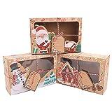Lot de 12 boîtes à biscuits de Noël avec fenêtre transparente en papier pour cadeaux de Noël (22 x 15 x 7 cm)