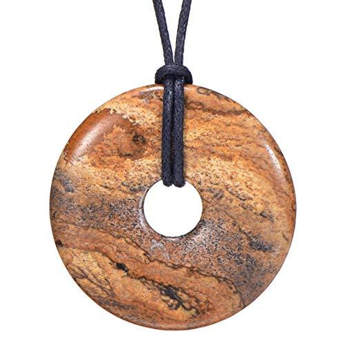 Morella Damen Halskette 80 cm Donut Edelstein Anhänger Bilderjaspis im Samtbeutel